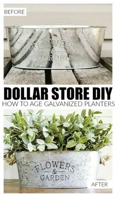 AFFORDABLE DOLLAR STORE TRANSFORMATION: How to Easily Age Inexpensive Galvanized Planters #dollar_store_hacks