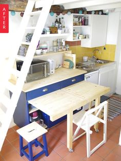 Before & After: A Tiny Paris Kitchen Gets Double-Duty Solution | Apartment Therapy