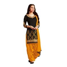 a4e05dd53c Great Indian Sale dresses for women party wear Clothing Cotton Fabric Salwar  Suit Dress Material With Dupatta ( RD Black Dress , Black , Free Size )