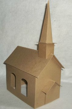 Large Church with Steeple -DIY – Putz Style Cardboard Church - Diy Gift For Girls Ideen Scandinavian Christmas Ornaments, Christmas Home, Christmas Crafts, Christmas Decorations, Christmas Village Houses, Putz Houses, Christmas Villages, Cardboard Crafts, Paper Crafts