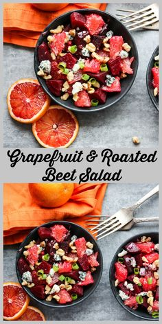 Grapefruit and Roasted Beet Salad with toasted walnuts and blue cheese makes a delicious and healthy winter salad.