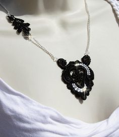 Black Lace and Rhinestones Necklace in silver door OliniLaces, $28,00