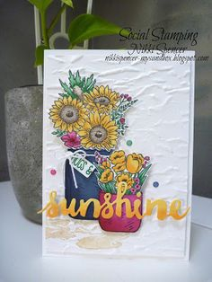 """Happy weekend everyone! We are hopping again over at Social Stamping and this week Kelly has set the theme as """"Sunshine"""" Lots. Mason Jar Cards, Mason Jars, Love Jar, Sunflower Cards, Stampin Up Catalog, Stamping Up Cards, Copics, Making Ideas, Cardmaking"""