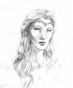 Galadriel portrait, sketch by Pika-la-Cynique.deviantart.com on @deviantART