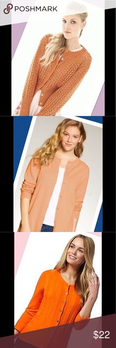 """🌷EDDIE BAUER Orange Cardigan Classy🌷 It is so lovely over one of my white linen pants or a skirts bundle and save.  It is soft and light.  Shoulder to bottom 26"""" armpit across 18"""".  Stretch knit.  Size L but fits S-L depending on how you like to wear it.  Model pic is to offer ideas.  ❣️I am open to all offers BUNDLE & send me your offer🌹 Eddie Bauer Sweaters Cardigans"""