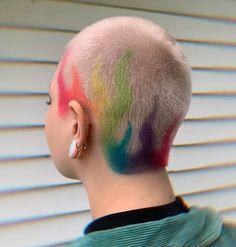 Short Hair Designs, Short Hair Styles, Short Rainbow Hair, Buzzed Hair Women, Shaved Head Designs, Flame Hair, Dyed Hair Men, Hair Colour Design, Cute Hair Colors