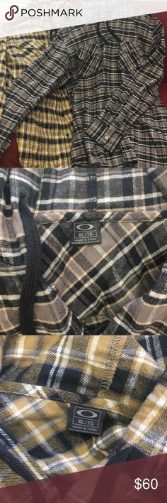 2 hooded flannel button up Oakley shirts Oakley hooded button up Like new Oakley Shirts Casual Button Down Shirts
