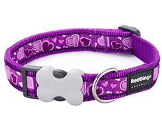 Pick Size Breezy Love Purple Hearts Premium Red Dingo Dog Collars /& Leashes
