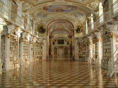 Admont Abbey Library, AustriaBuilt in 1776, the Admont Abbey Library is the largest monastery library in the world. The ceiling is adorned with frescoes depicting the stages of human knowledge up until the Divine Revelation. The entire design reflects the ideals and values of the Enlightenment.