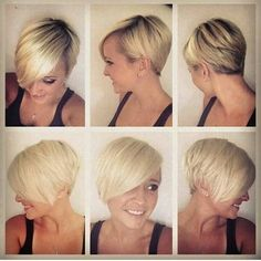 Cute blonde pixie with an edge.