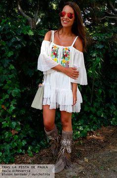 Paula Echevarría blogger look outfit con vestido bordado off the shoulder - Highly Preppy