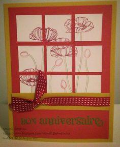 stampin' up, scrapbooking, carte, card, SU, flower, fleurs, anniversaire, happy birthday
