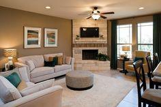 Corner fireplace, tv above