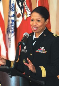 """Maj. Gen. Marcia Anderson gave credit to the """"very, very strong women"""" in her family, as well as the strong women who had preceded her in the military, at a presentation Thursday afternoon."""
