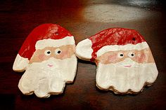 salt dough handprint santa ornaments