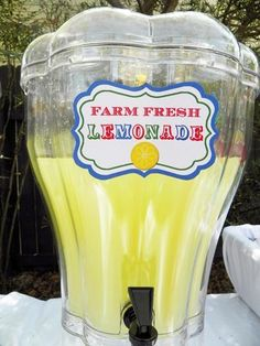 Farm Fresh Lemonade at a Carnival Birthday Party! See more party ideas at CatchMyParty.com!