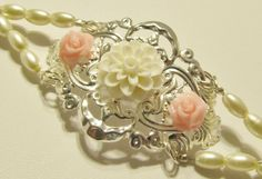 Bridal Cuff Bracelet Silver Filigree with Flowers and Pearls by RomanticThoughts, $35.95