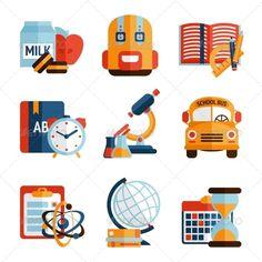 Education Icons Set - Web Elements Vectors