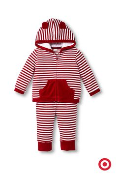 Baby will look as sweet as can be and feel as cozy as a bear cub in this Cherokee two-piece set. The soft, velvet top has a zip front, pouch pocket and a pair of adorable ears on the hood. Pull-on pants complete the set. Perfect for Christmas snuggling.