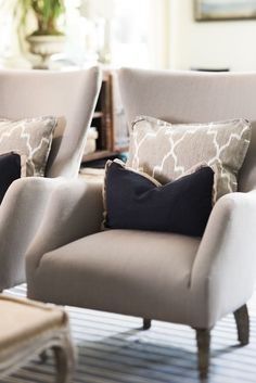Great chairs - style and fabrics.