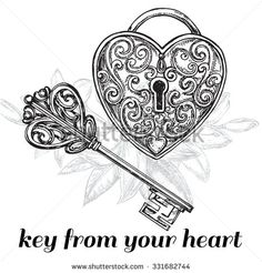 "The vector illustration ""hand drawn sketch illustration key and lock"" for design"
