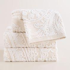 Alexandra Linen Flower Bath Towel Collection   World Market