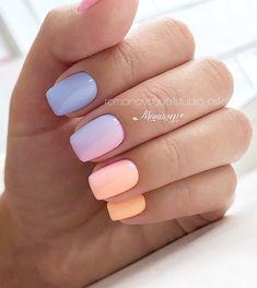Nail Art Designs and Ideas 2019 - nails - Nageldesign Cute Acrylic Nails, Cute Nails, Pretty Nails, Colored Acrylic Nails, Sassy Nails, Ombre Nail Designs, Best Nail Art Designs, Chrome Nails Designs, Short Nail Designs