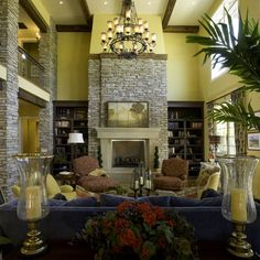 Stone Two Story Fireplace Design More
