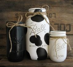 ON SALE NOW Set Of 3 Painted Mason Jars Rustic by PaintedMasonJar