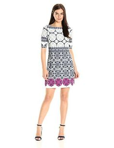 Eliza J Women's Medallion Print Shift Dress One piece medallion printed shift dress with color pop detail on hemElbow length sleeveExposed center back zipper  Dresses, outfits, outfits for girls, outfits for school, outfits for winter 2017, outfits for women, outfits with jeans and boots, strapless dresses
