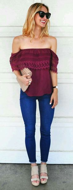 ooh so cute! Off the shoulder maroon blouse #fashion #trending