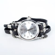 Leather Chain Wrap Watch Black design inspiration on Fab.