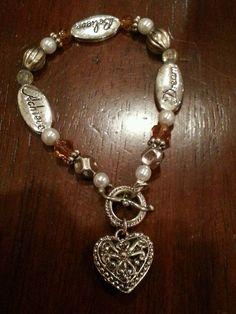 Vintage bracelet #5, heart, achieve, dream beaded. in Bracelets | eBay
