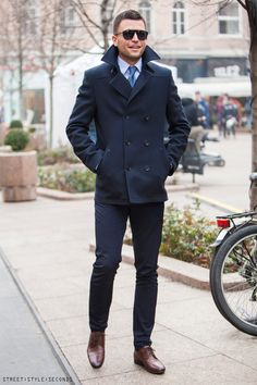 men's pea coats, street style outfits, shop the latest pea coats, Zagreb street style