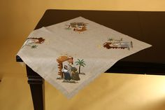 Machine Embroidered Holiday First Christmas Square Table Topper