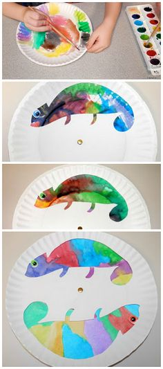 Paper plate color changing chameleon craft for kids! This is an amazing craft, plus the little one is completey able to participate.