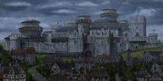 Mike Gardner's Concept Art: Game of Thrones Ascent Cityscape Day Fantasy City, Fantasy Castle, Fantasy Places, High Fantasy, Medieval Fantasy, Game Of Thrones Story, Game Of Thrones Locations, Game Of Thrones Art, Casa Stark