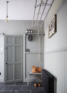 New Elegance: A Chic and Moody Georgian Town House in Newcastle Entrance hallway in a light grey colour scheme