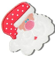 "[Single Count] Custom and Unique (4"" X 3 7/8"" Inch) Adorable Jolly ""Holiday"" Santa Clause w/ Bg Nose & Polka Dot Christmas Eve Hat Design Iron On Embroidered Applique Patch {Red, Pink, & White Colors}"
