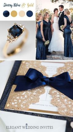 Elegant Navy Blue and Rose Gold Wedding Invitations with Gold Glittery Mirror Paper Bottom EWWS192#blue#classic#glitter#invitations#weddings #weddinginvitationsclassic