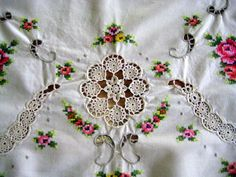 Roses CrossStitch Tablecloth-Crochet Inserts-Needlework-Handmade-Shabby French-Cottage-High Tea- Gift for Her at Designs By Willowcreek by DesignsByWillowcreek on Etsy