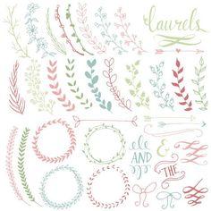 Pretty Laurels & Wreaths Clip Art // Hand Drawn // Ribbon Foliage ...