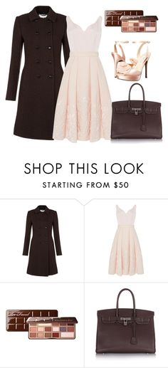 """""""Peach and chocolate"""" by grateful-angel ❤ liked on Polyvore featuring Hobbs, Ted Baker, Too Faced Cosmetics, Hermès and Nina"""
