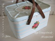 Vintage Picnic Basket  Upcycled  Handpainted by SweetMagnoliasFarm, Sold to a good home