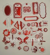 red color mix shape with adhesive for Scrapbooking Chipboard (35pcs/set)  048002012(China (Mainland))