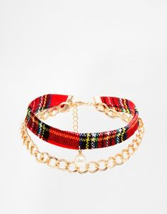 Red Plaid ASOS Tartan Choker Necklace with Faux Pearl ASOS $20