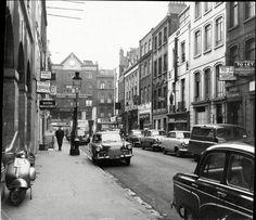 Pink Zone Parking introduced in Gerrard Street, Soho, London, Britain – 03 Dec 1959 London Look, Old London, Soho, Yellow Peril, Barbara Windsor, London History, Uk History, London Street, Back In Time