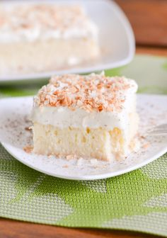 Tres leches cake is a Latin American cake dessert. This recipe soaks the cake in three types of milk – evaporated, condensed and whole milk.