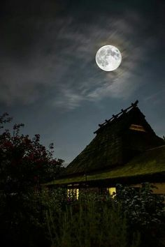 Moon over Miyama, Japan. Miyama is a rural town in Kyoto Prefecture and has Japan's highest concentration of traditional thatched roofed farmhouses. Photo by Tatsuya Kamikura, TOKYO CAMERA CLUB. Stars Night, Good Night Moon, Stars And Moon, Moon Moon, Moon Art, Full Moon, Moon Photos, Moon Pictures, Beautiful Moon