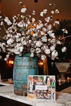 Cotton bolls in antique cask. Would also work with vintage ice cream maker Photo+Credit:+Caleb+Chancey.+